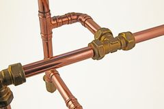 Copper pipework Stock Images