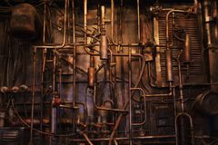 Copper pipe. Difficult communication, retro, pipes texture stock photography