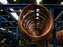Copper pipe factory Royalty Free Stock Images