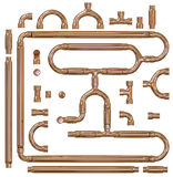 Copper pipe fittings set Stock Images