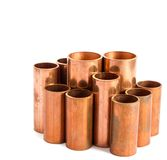 Copper pipe. For use produce the air-conditioner stock photography