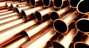 Copper pipe on white background Stock Images