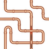Copper pipeline construction seamless background Royalty Free Stock Photography