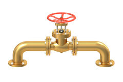 Copper pipeline with valve. On white background Stock Photo