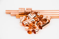 The copper pipes and armature Royalty Free Stock Images