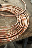 Copper pipes close up Stock Photo