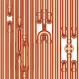 Copper pipes construction, seamless background Stock Image