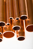 Copper pipes of different diameter Stock Photography