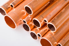 Copper pipes of different diameter Stock Image