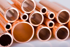 Copper pipes of different diameter Royalty Free Stock Photo