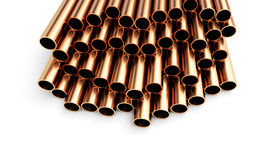 Copper pipes of different diameter . Isolated on White Background Royalty Free Stock Photo
