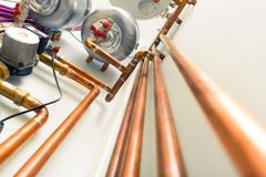 Copper pipes engineering Royalty Free Stock Image