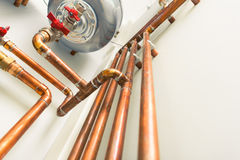 Copper pipes engineering Stock Photos
