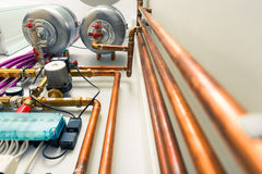 Copper pipes engineering Stock Photography