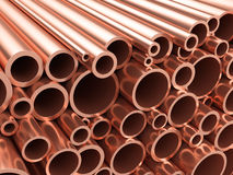 Copper pipes heap Royalty Free Stock Photos