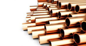 Copper pipes. Isolated on White Background. Royalty Free Stock Photos