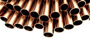 Copper pipes. Isolated on White Background. Royalty Free Stock Photography