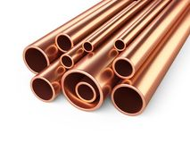 Copper pipes profile stack. Royalty Free Stock Images
