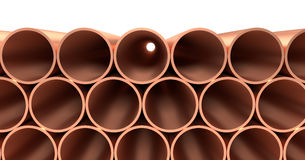 Copper pipes in rows isolated. Heavy metallurgical industry production and non-ferrous industrial products creative abstract illustration: many stainless metal Stock Image