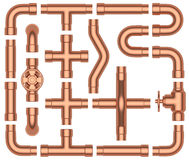 Copper pipes set Stock Photo
