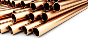 Copper pipes on a white background Royalty Free Stock Images