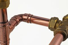 Copper pipework Stock Photo