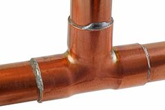 Copper pipework royalty free stock image