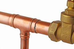 Copper pipework Royalty Free Stock Photography
