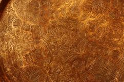 Copper plate. A close shot for a big hand made plate made of copper Stock Photo