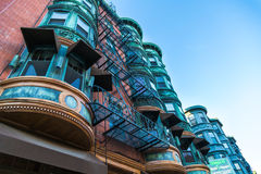 Copper Plated Balconies royalty free stock image