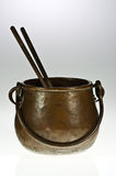 Copper pot with chopsticks Royalty Free Stock Photos