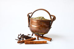 Copper pot of guarana with some cloves and cinnamon near it Royalty Free Stock Photography