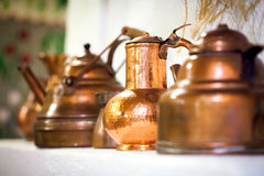 Copper pots Stock Photo