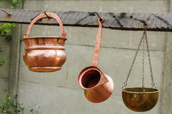 Copper pots and kettle Stock Images
