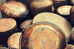 Copper pots and pans. Old copper pots and pans stock image