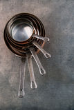 Copper Pots and Pans, set of copper cookware for restaurant Stock Photo