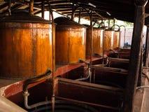 Copper pots in peruvian bodega Stock Photography