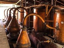 Copper pots in peruvian bodega Stock Images