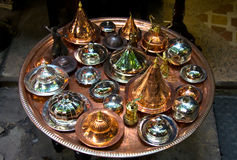 Copper pots tray Stock Photography