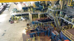Copper-processing plant with machinery filmed from above