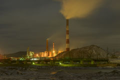 Copper Processing Plant on a winter night. The most polluted place on the planet - Karabash Royalty Free Stock Photos