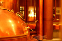 A copper red beer tank with a handle and a lid stock photos