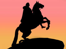 Copper rider silhoette Royalty Free Stock Image