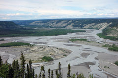 The copper river meandering in a valley near chitina Royalty Free Stock Photography