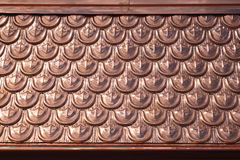 Copper roof. Roof shingles texture made from copper metal Royalty Free Stock Photo
