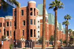 Copper roofed modern brick condo townhomes Royalty Free Stock Images