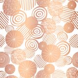 Copper rose gold foil textured circle shapes seamless vector pattern. Shiny metallic abstract circles on white background. Elegant royalty free illustration