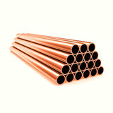 Copper round pipes, industrial background, isolated on white background. 3d illustration Royalty Free Stock Photos