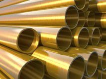 Copper round pipes.  industrial 3d illustration Royalty Free Stock Photo