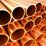 Copper round pipes.  industrial 3d illustration Royalty Free Stock Photos